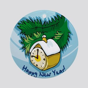 HAPPY NEW YEAR COUNTDOWN CLOCK ORNAMENT (Round)