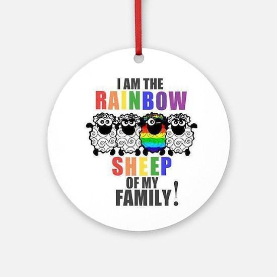 Rainbow Family Sheep Ornament (Round)