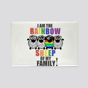 Rainbow Family Sheep Rectangle Magnet