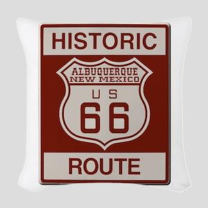 Albuquerque Route 66 Woven Throw Pillow