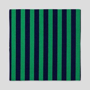 Classic green and dark blue striped Queen Duvet