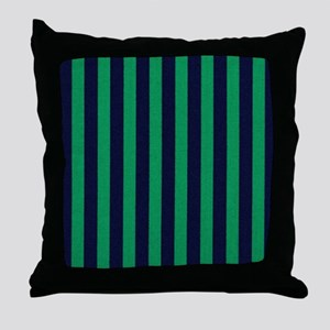 Classic green and dark blue striped Throw Pillow