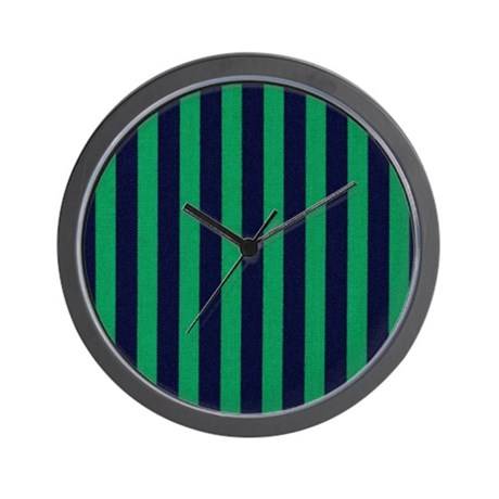 Classic Green And Dark Blue Striped Wall Clock