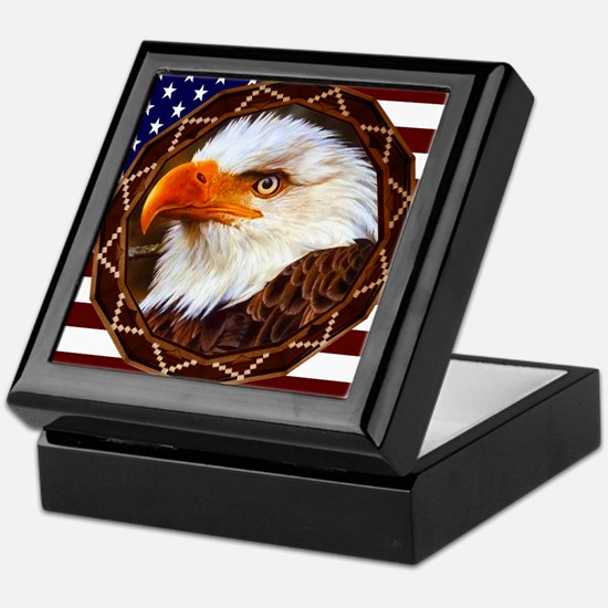 Geometric Bald Eagle Keepsake Box