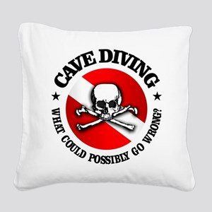Cave Diving (Skull) Square Canvas Pillow