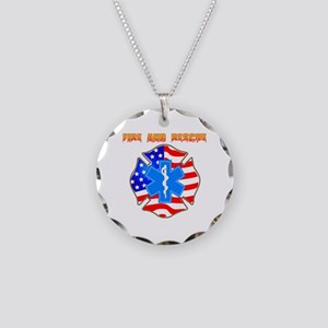 Fire and Rescue Emblem Necklace Circle Charm
