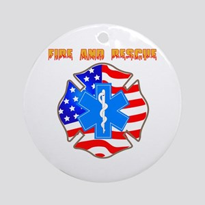 Fire and Rescue Emblem Ornament (Round)