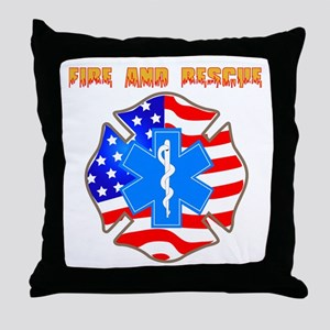 Fire and Rescue Emblem Throw Pillow