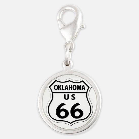U.S. ROUTE 66 - OK Silver Round Charm