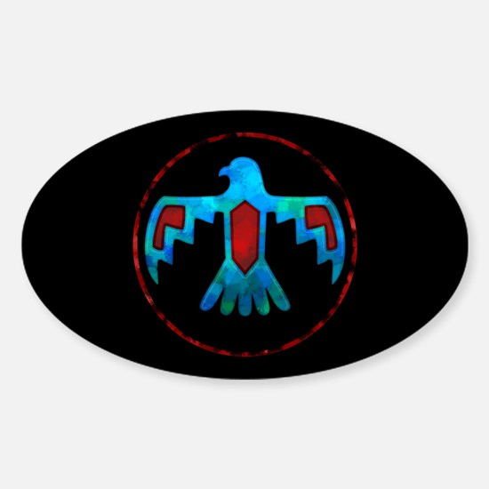 Red and Blue Thunderbird Sticker (Oval)