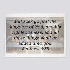 Matthew 6:33 5'x7'Area Rug