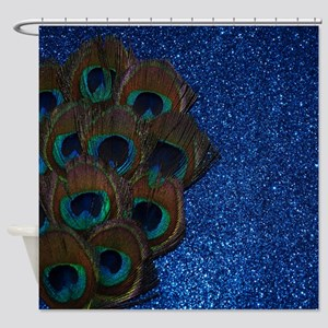 Blue Peacock Bouquet Shower Curtain