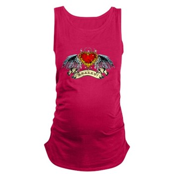 Really? Winged Heart Dark Maternity Tank Top