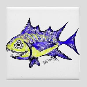 Retro Fish Tuna 2 White Background Tile Coaster