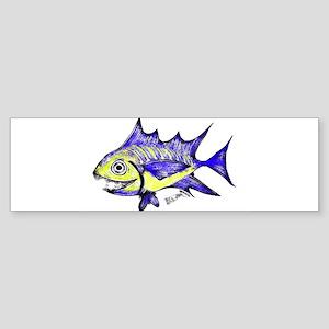 Retro Fish Tuna 2 White Background Bumper Sticker