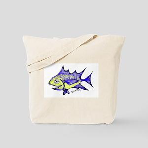 Retro Fish Tuna 2 White Background Tote Bag
