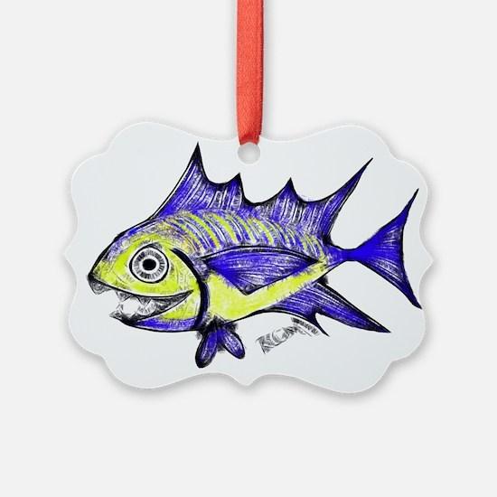 Retro Fish Tuna 2 White Background Ornament