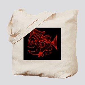 Happy Fish Abstract Art Red Tote Bag
