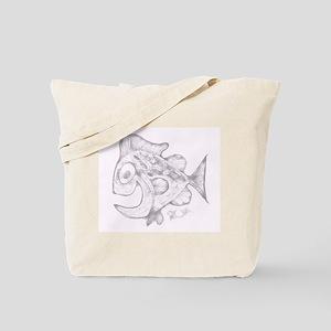 Happy Fish Abstract Art Grey Tote Bag