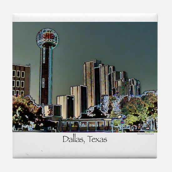 Dallas in Neon Tile Coaster
