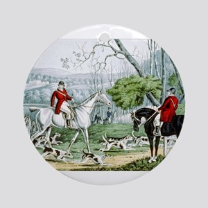 Fox chase - Throwing off - 1846 Round Ornament