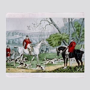 Fox chase - Throwing off - 1846 Throw Blanket