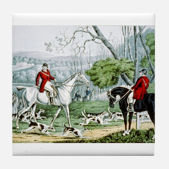 Fox chase - Throwing off - 1846 Tile Coaster