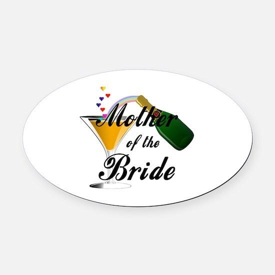 mother of bride black.png Oval Car Magnet