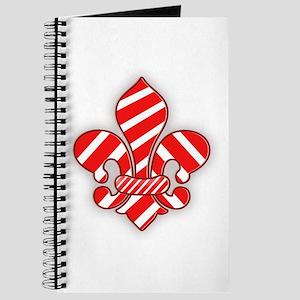 Candy Cane Fleur de lis Journal
