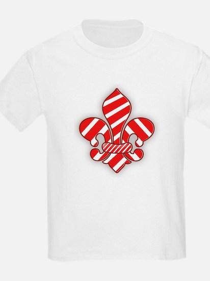 Candy Cane Fleur de lis Kids T-Shirt