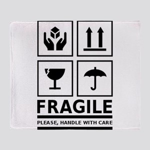 Fragile Please Handle With Care Throw Blanket