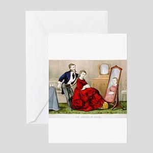 An artist in hair - 1871 Greeting Card