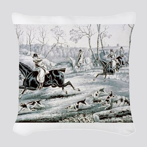 Fox chase - Gone away - 1846 Woven Throw Pillow