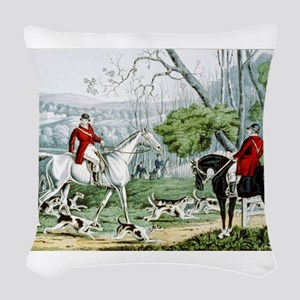 Fox chase - Throwing off - 1846 Woven Throw Pillow