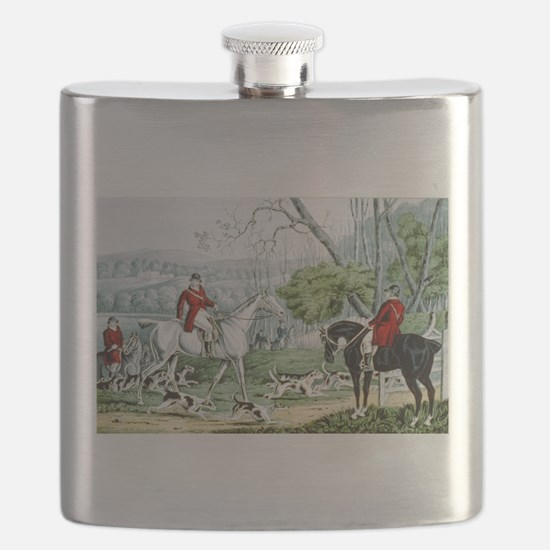Fox chase - Throwing off - 1846 Flask
