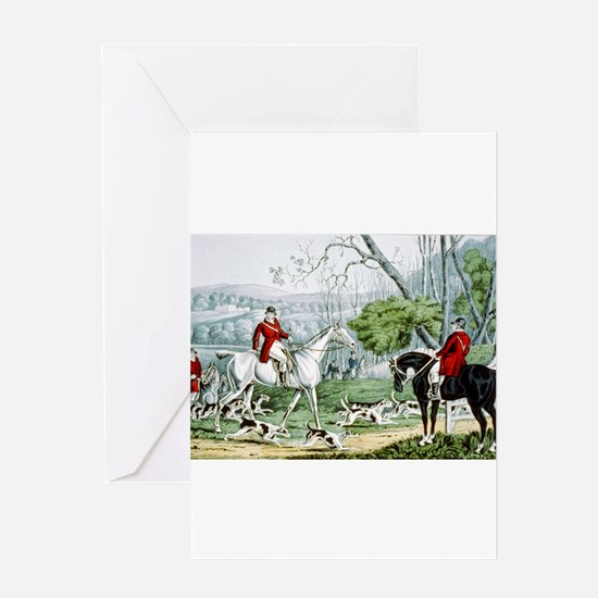 Fox chase - Throwing off - 1846 Greeting Card