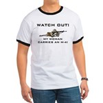 WATCH OUT MILITARY WOMAN M-4 Ringer T