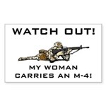 WATCH OUT MILITARY WOMAN M-4 Rectangle Sticker
