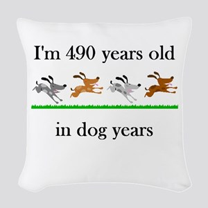 70 birthday dog years 1 Woven Throw Pillow