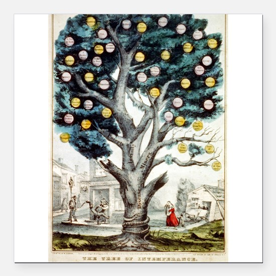 The tree of intemperance - 1849 Square Car Magnet