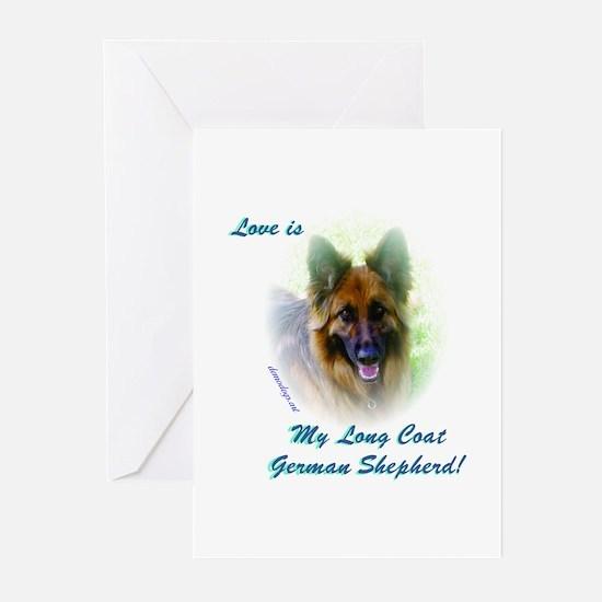 Love is my Long Coat German Shepherd Greeting Card