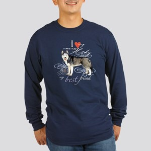 Siberian Husky Long Sleeve Dark T-Shirt