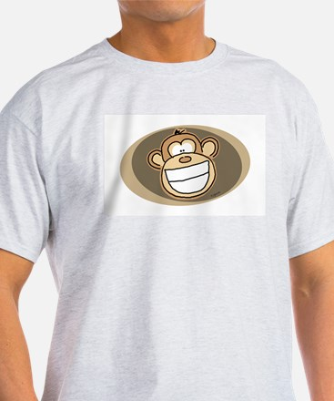 Cheese Grin Monkey Ash Grey T-Shirt