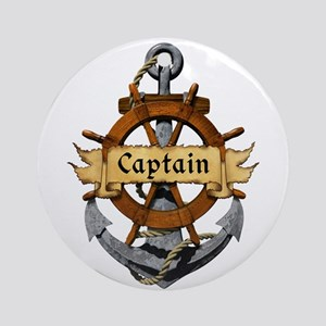 Captain and Anchor Ornament (Round)