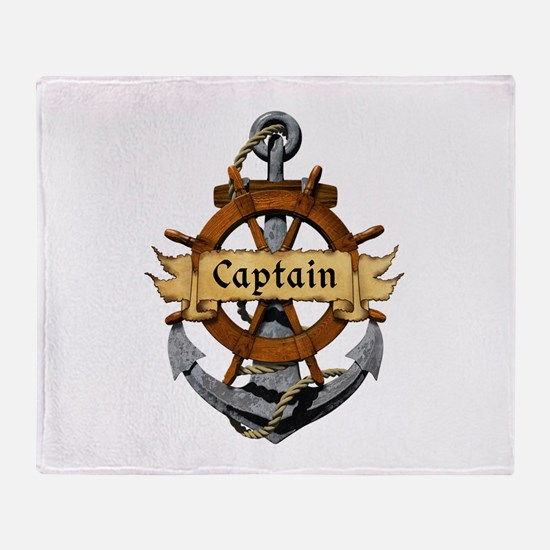Captain and Anchor Throw Blanket