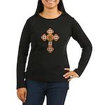 Floral Cross Women's Long Sleeve Dark T-Shirt