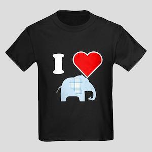 I Heart Blue Plaid Elephant T-Shirt