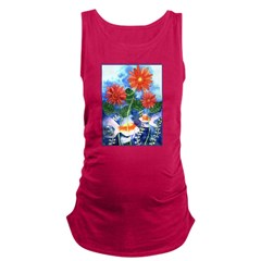 Fish and Flowers Watercolor Maternity Tank Top