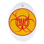 NO GMO Ornament Bio-hazard Ornament (Oval)