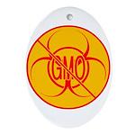 NO GMO Ornament Bio-hazard Ornament (Oval)